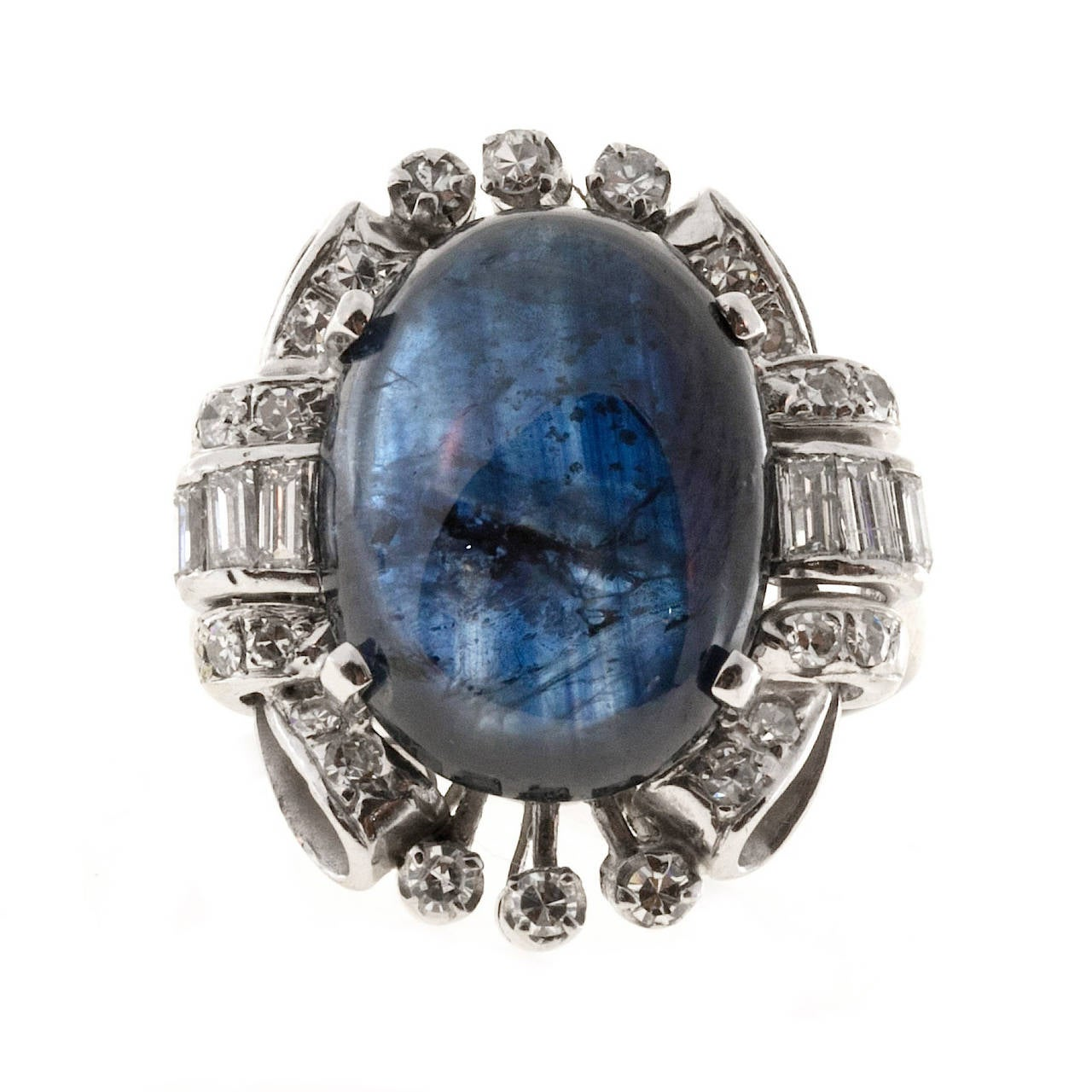 Oval Cabochon Sapphire Diamond Gold Cocktail Ring 7