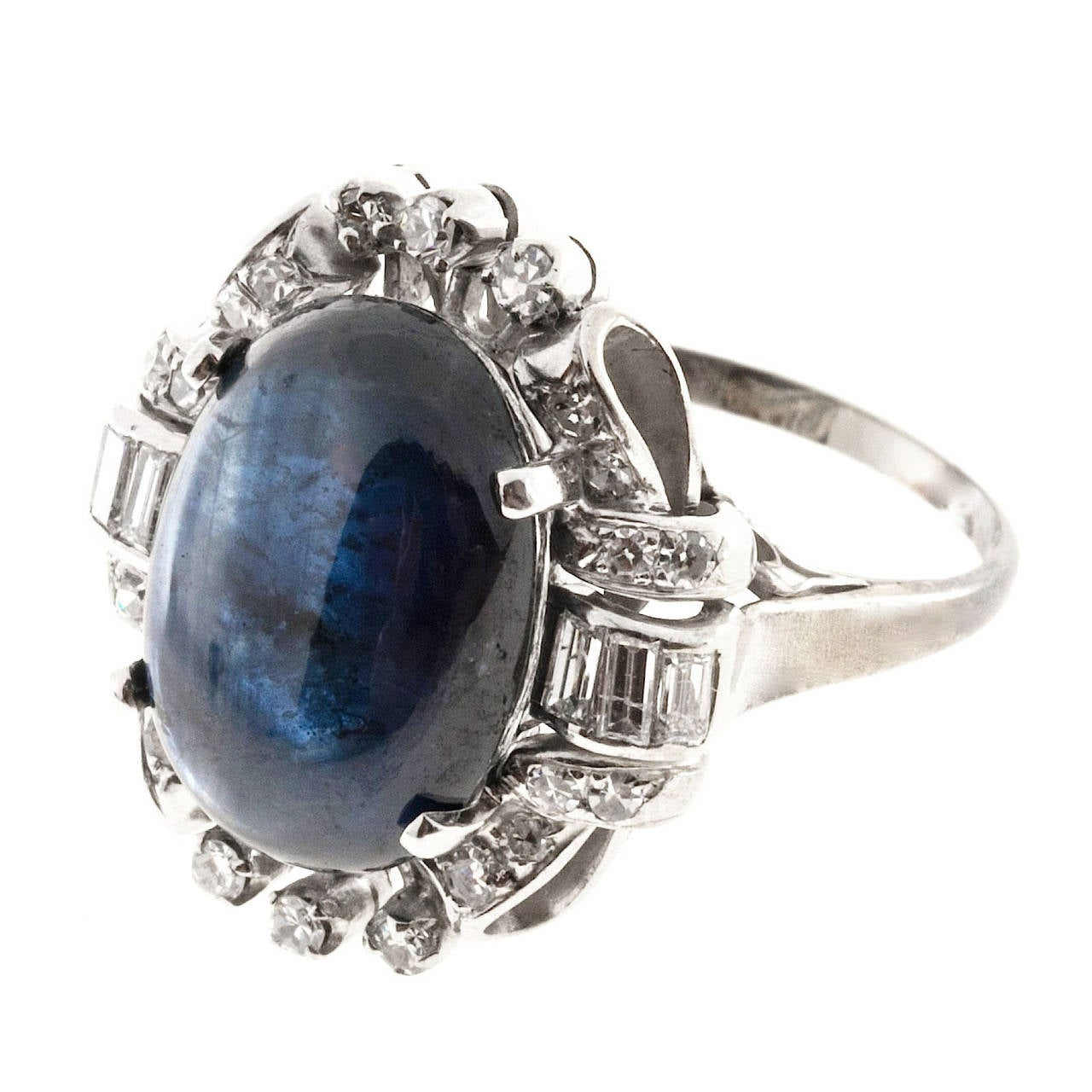 Women's Oval Cabochon Sapphire Diamond Gold Cocktail Ring For Sale