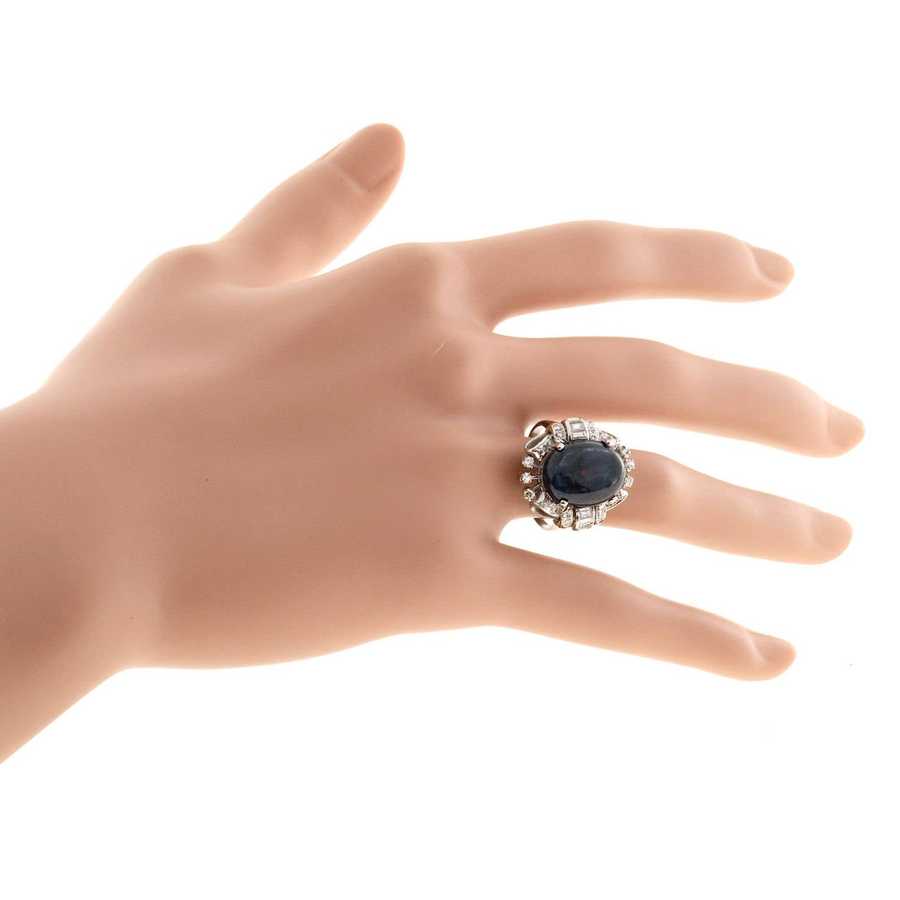 Oval Cabochon Sapphire Diamond Gold Cocktail Ring For Sale 4