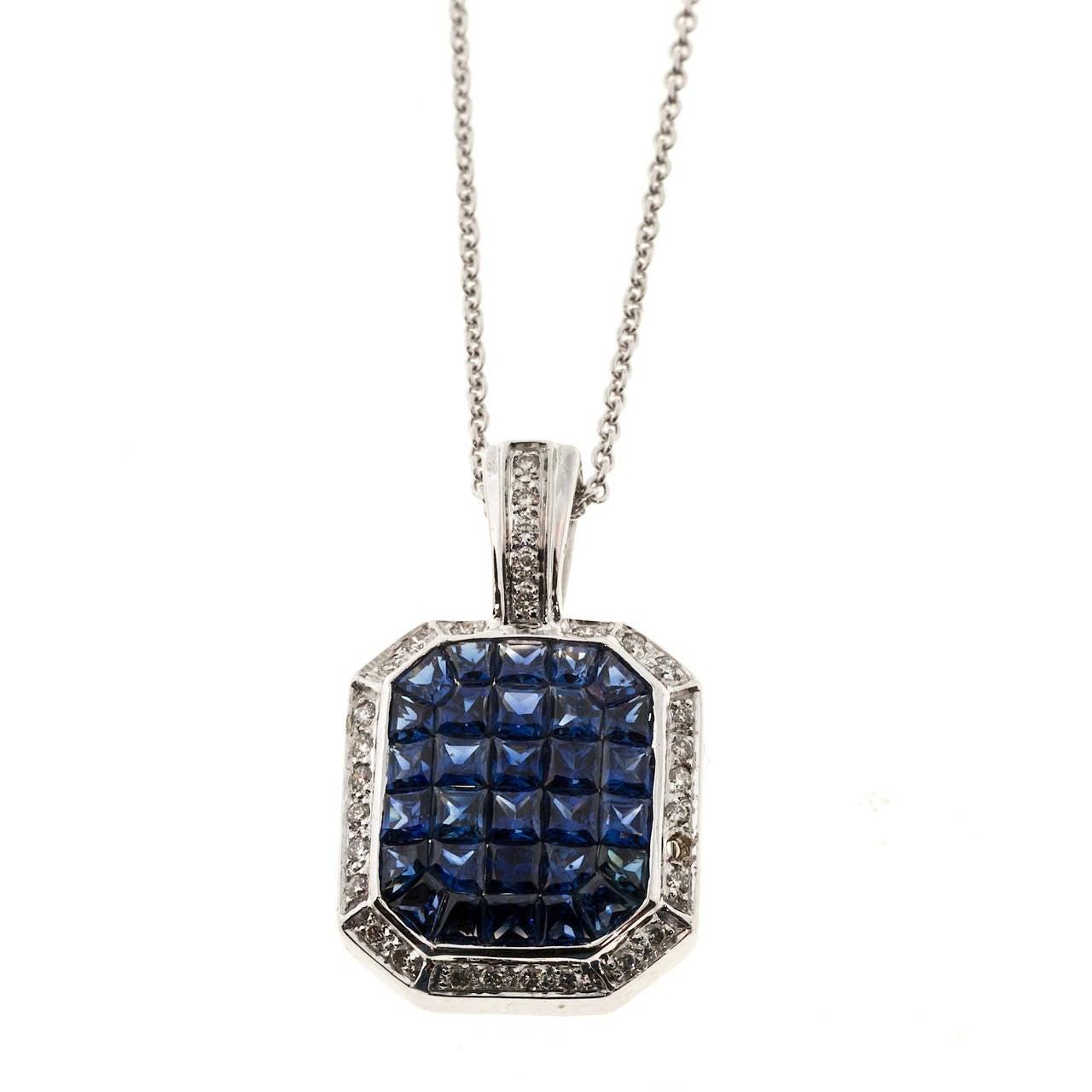 Invisible Set Sapphire Diamond Gold Pendant  Necklace