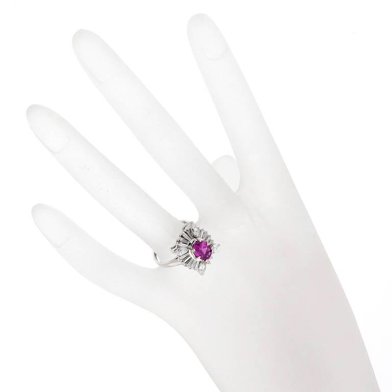 Pink Sapphire Marquise Diamond Baguette Gold Ring For Sale 1