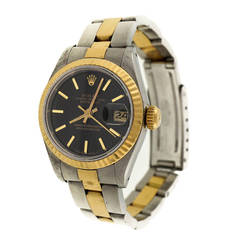 Rolex Lady's Stainless Steel and Yellow Gold Datejust Wristwatch Ref 69173