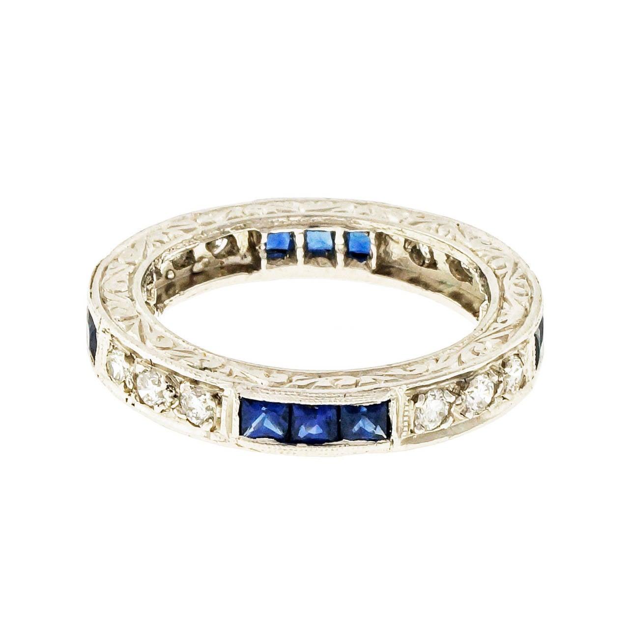Peter Suchy Sapphire Round Diamond Platinum Eternity Band Ring 4