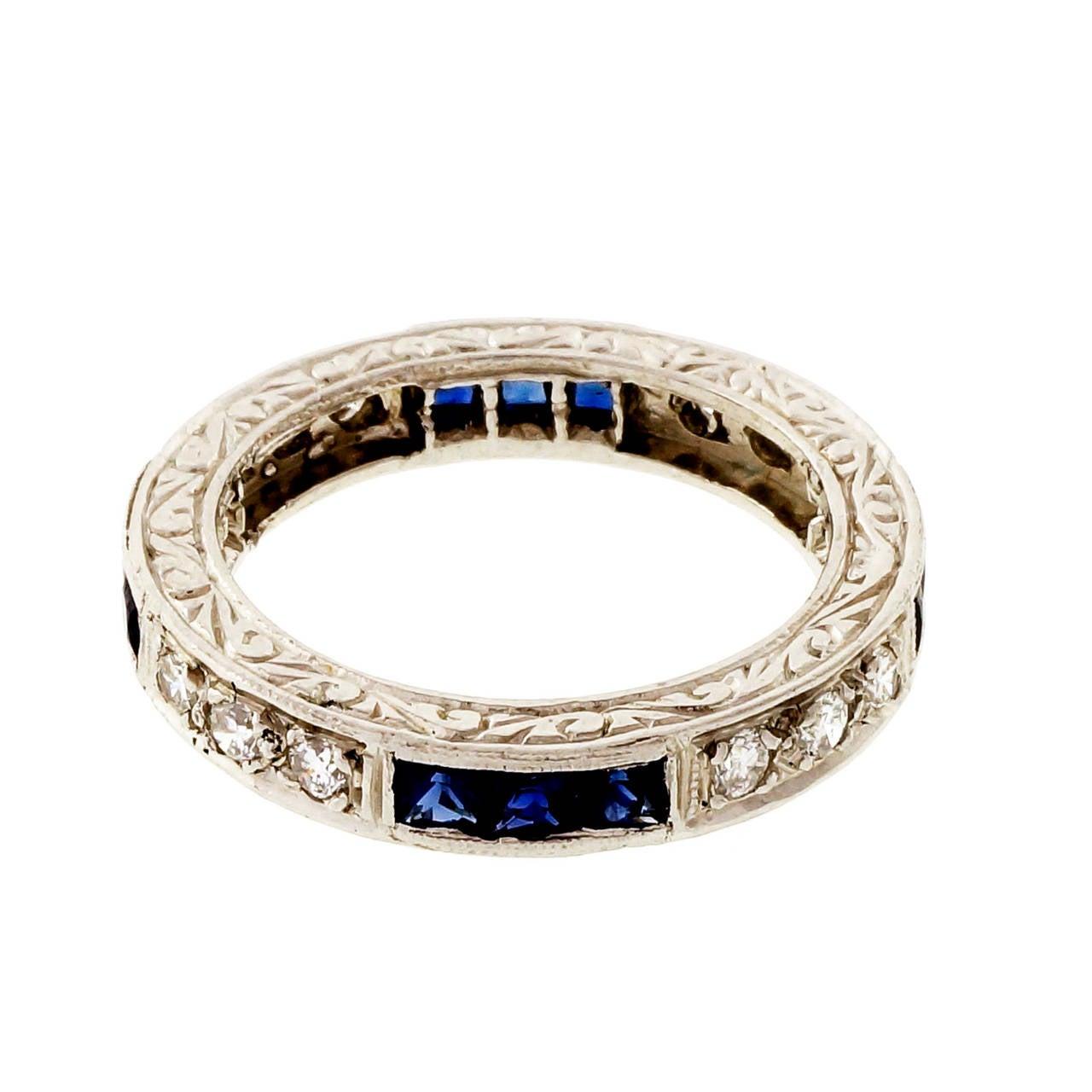 Peter Suchy Sapphire Round Diamond Platinum Eternity Band Ring 6
