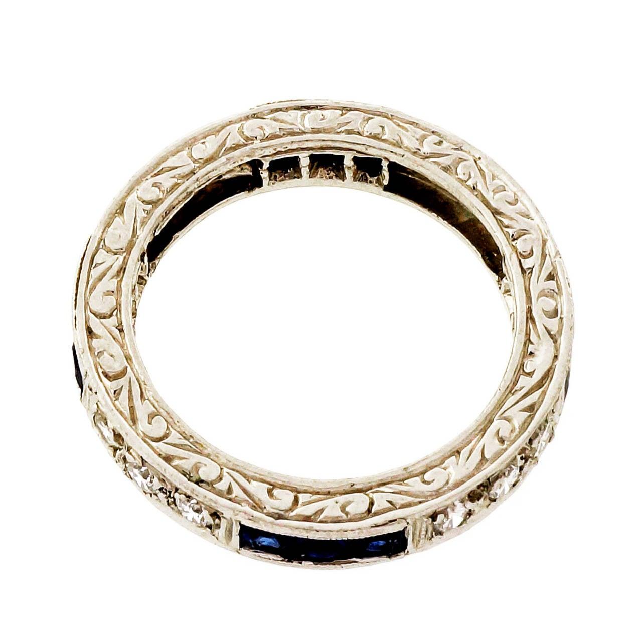 Peter Suchy Sapphire Round Diamond Platinum Eternity Band Ring 5