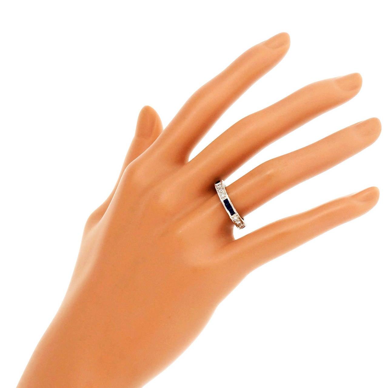 Peter Suchy Sapphire Round Diamond Platinum Eternity Band Ring 3