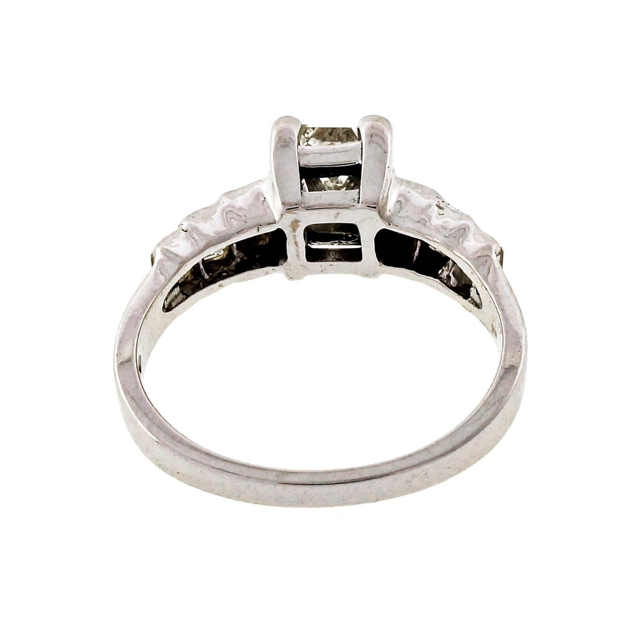 Princess Cut Diamond Gold Engagement Ring For Sale