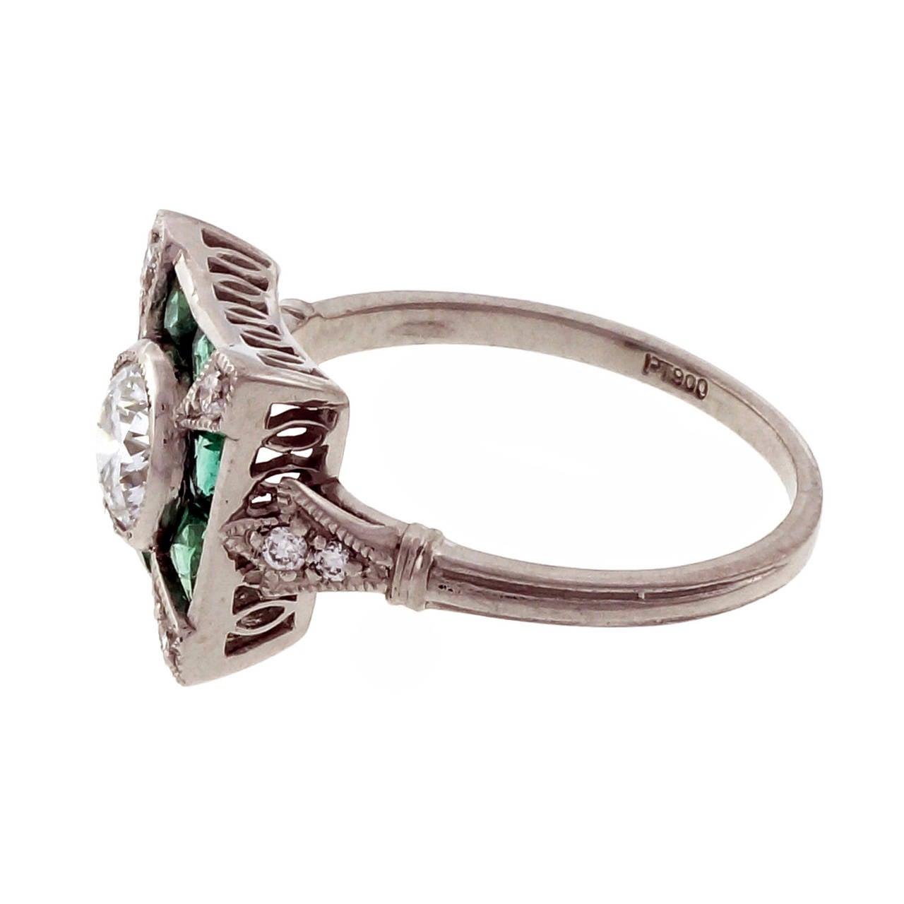 Diamond Emerald Platinum Cocktail Ring For Sale 2