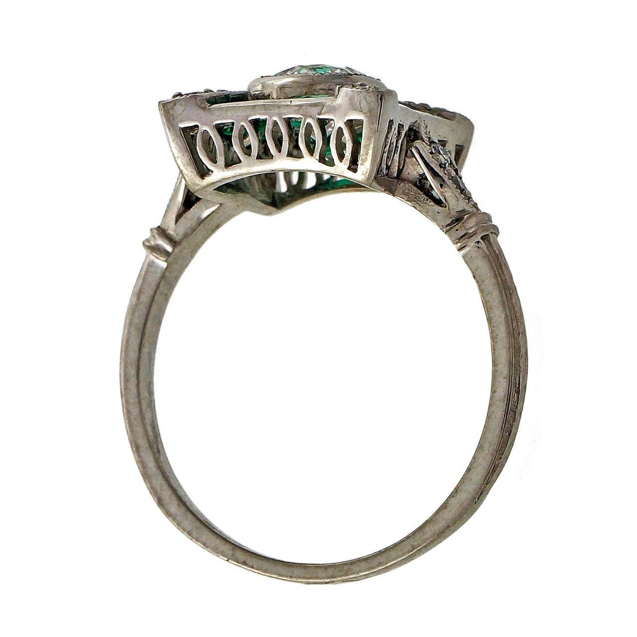 Diamond Emerald Platinum Cocktail Ring For Sale 4