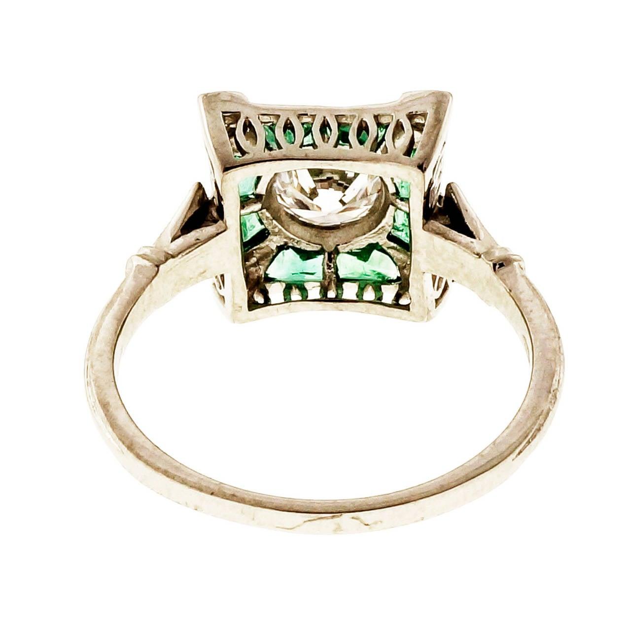 Women's Diamond Emerald Platinum Cocktail Ring For Sale