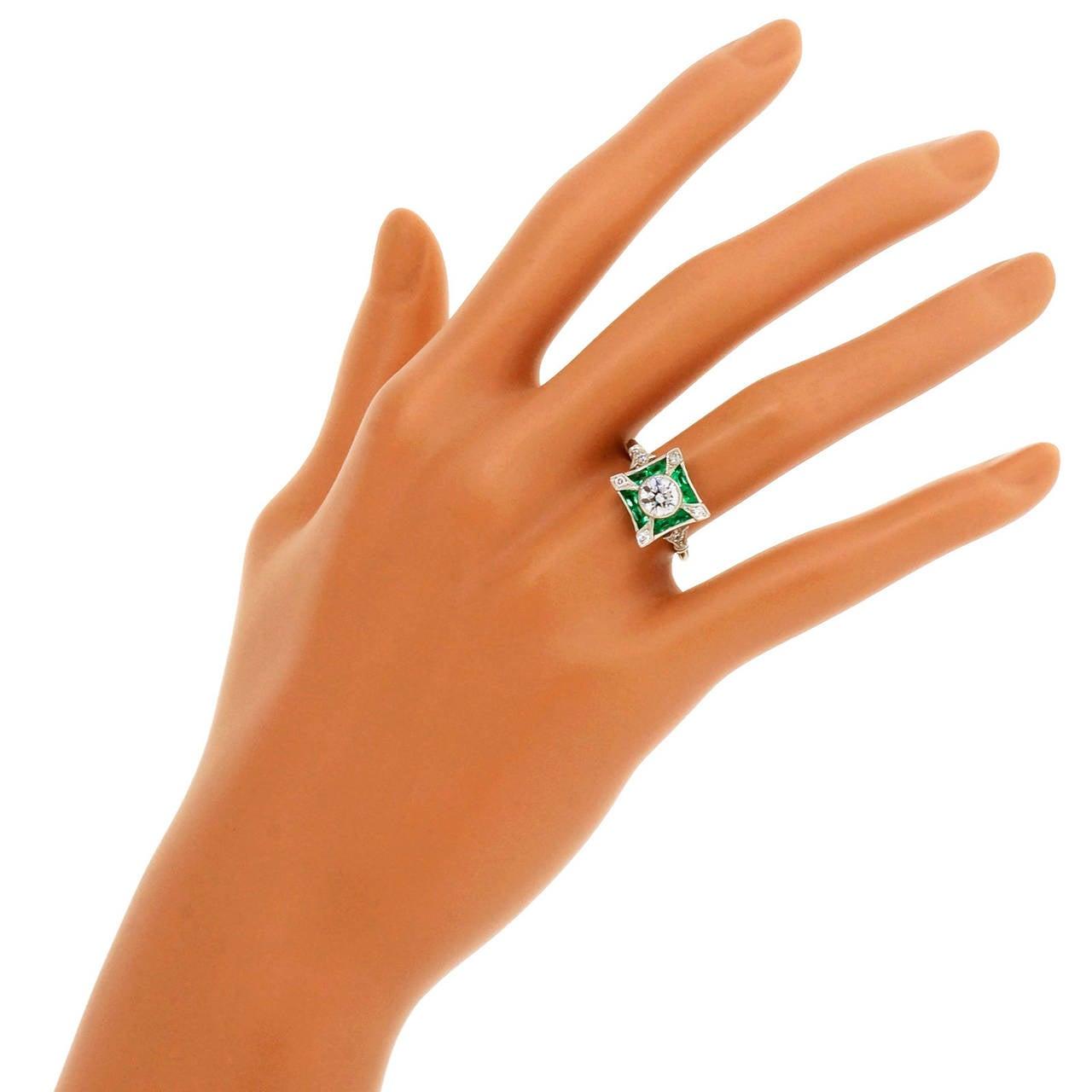 Diamond Emerald Platinum Cocktail Ring For Sale 1