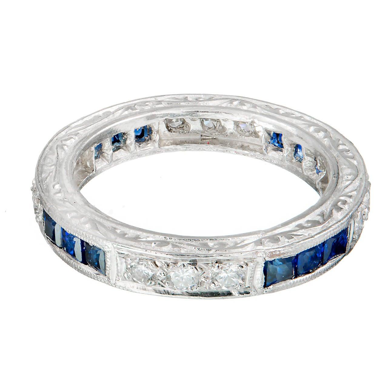 Peter Suchy Sapphire Round Diamond Platinum Eternity Band Ring 2