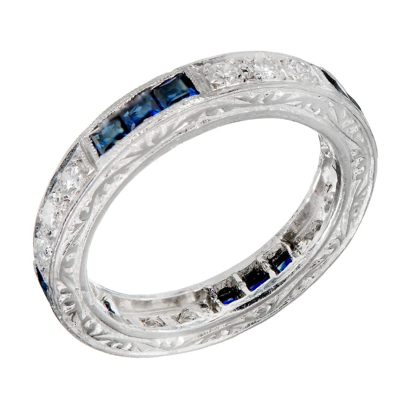 Peter Suchy Sapphire Round Diamond Platinum Eternity Band