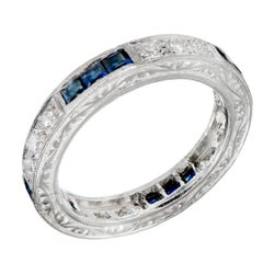 Peter Suchy Sapphire Round Diamond Platinum Eternity Band Ring