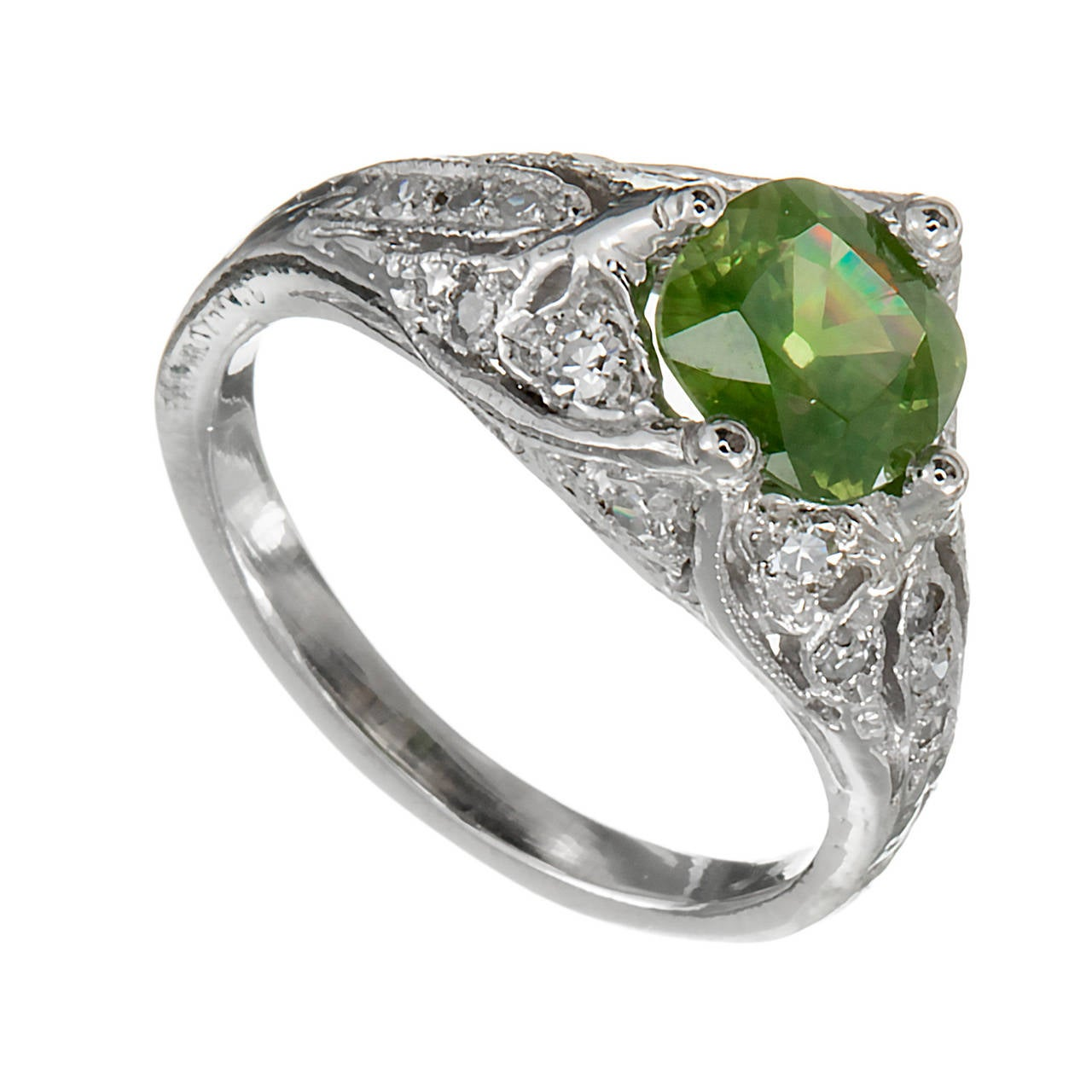 Green Demantoid Garnet Diamond Platinum Ring