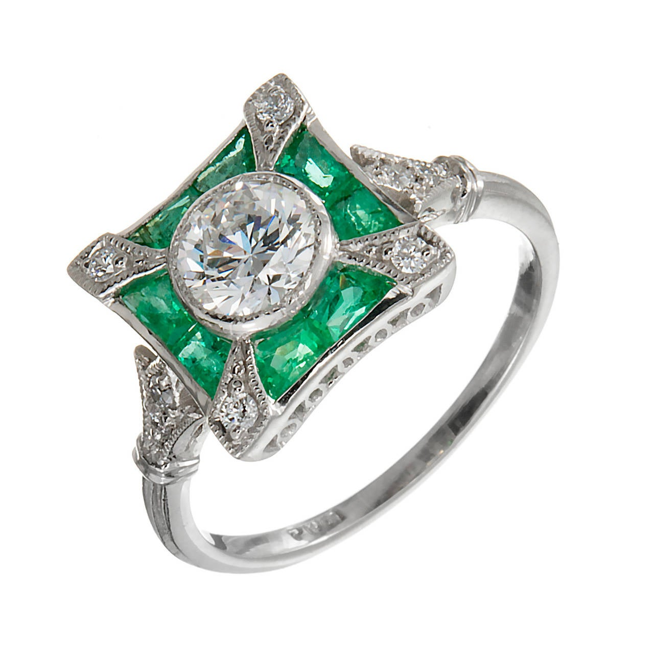 Diamond Emerald Platinum Cocktail Ring For Sale