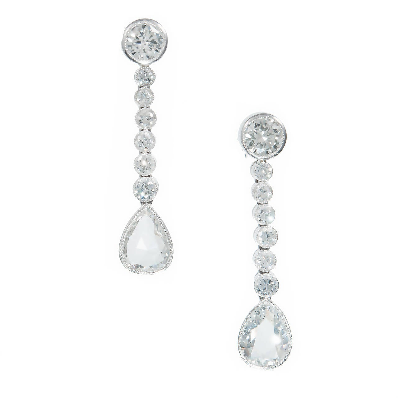 Pear Shaped Diamond Platinum Dangle Earrings