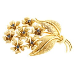 Tiffany & Co. Sapphire Gold Flower Pin