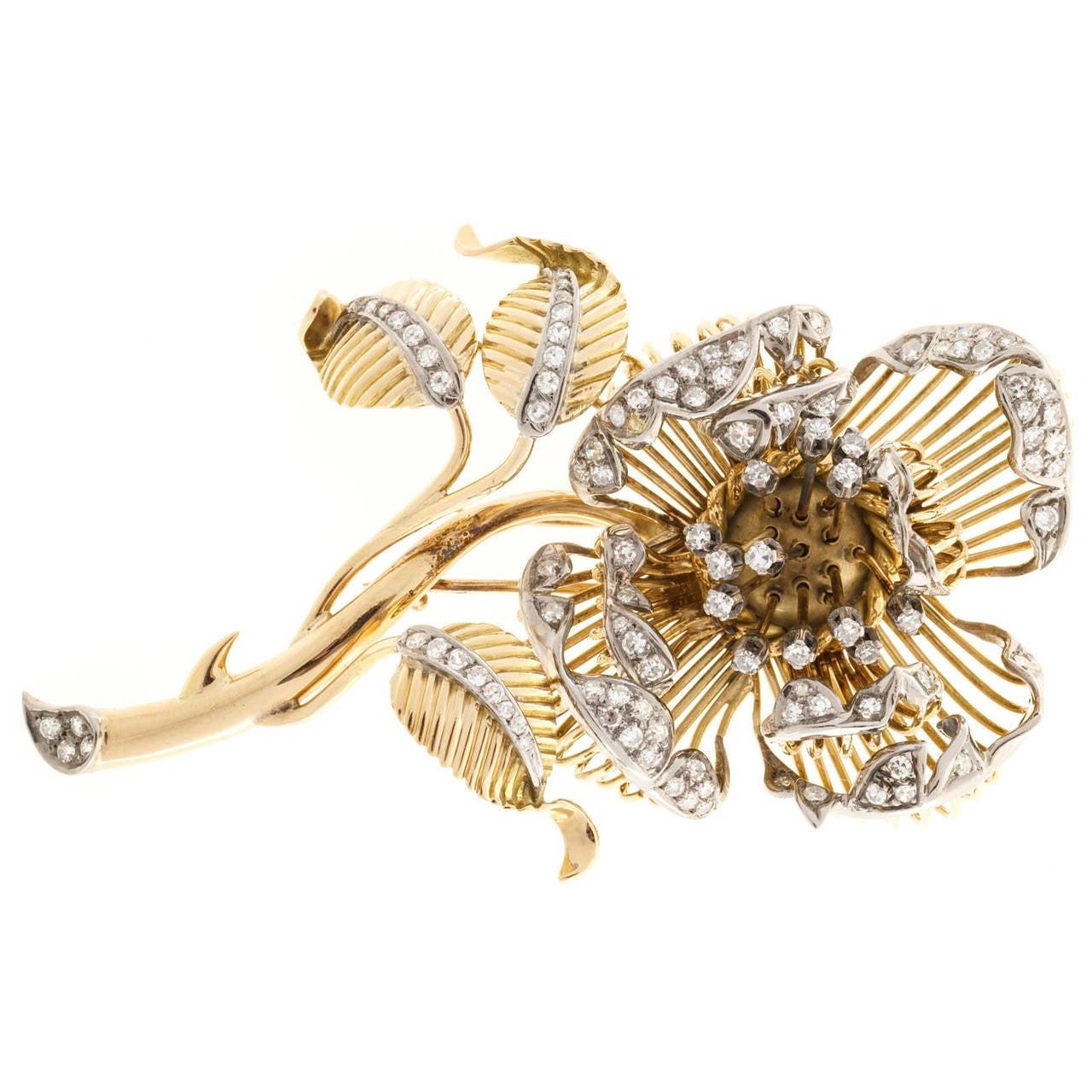 En Tremblant Diamond Two Color Gold Flower Pin