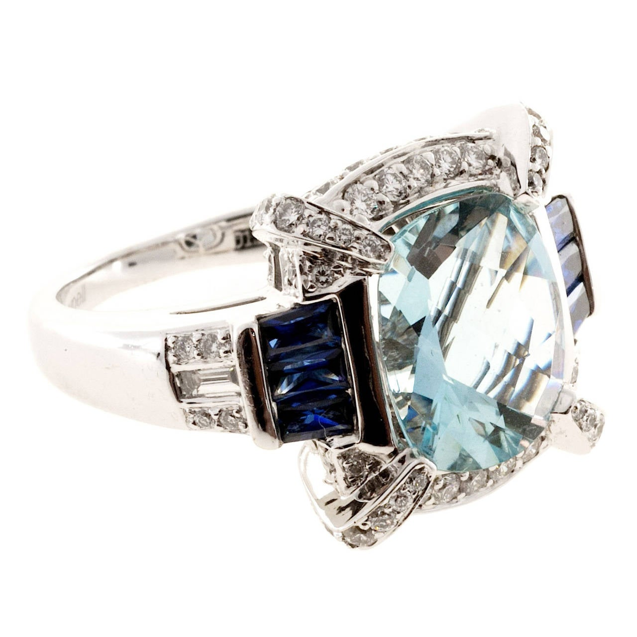 Charles Krypell Aquamarine Sapphire Diamond Gold Cocktail Ring For Sale