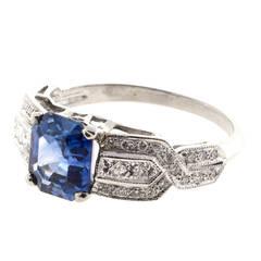 GIA Certified Art Deco Ceylon Sapphire French Cut Diamond Platinum Ring