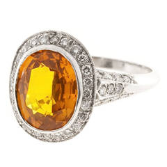 Oval Orange Sapphire Diamond Filigree Platinum Ring