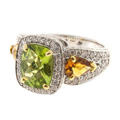 Charles Krypell Peridot Citrine Diamond Gold Cocktail Ring
