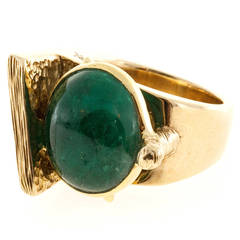 1950s Jordin Cabochon Emerald Gold Bezel Set Cocktail Ring