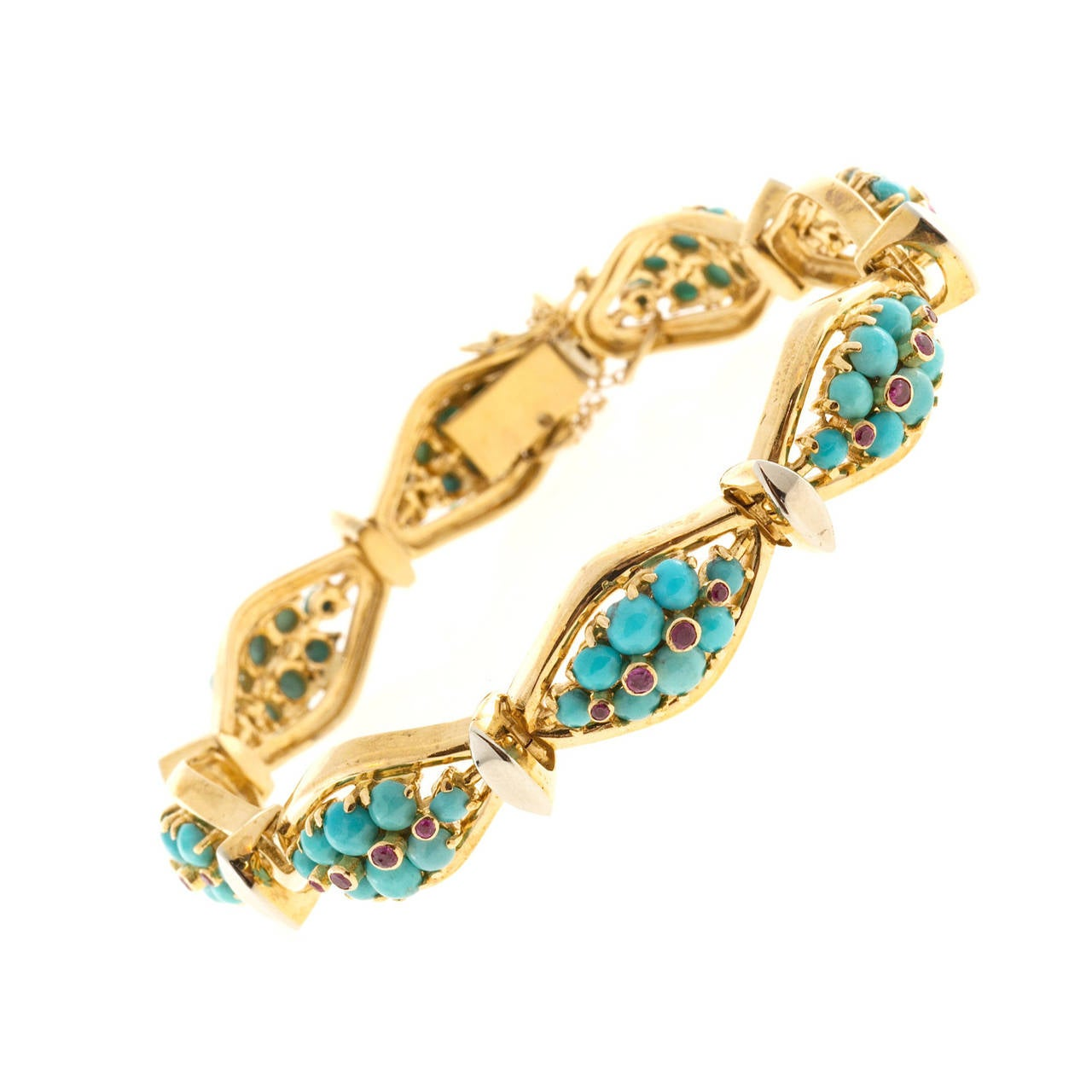 Persian Turquoise Ruby Gold Hinged Link Bracelet