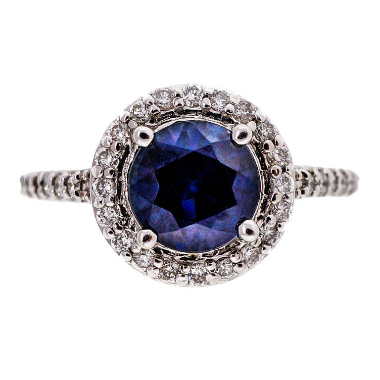 Royal Blue Sapphire Diamond White Gold Halo Engagement Ring 1