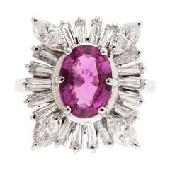 Pink Sapphire Marquise Diamond Baguette Gold Ring