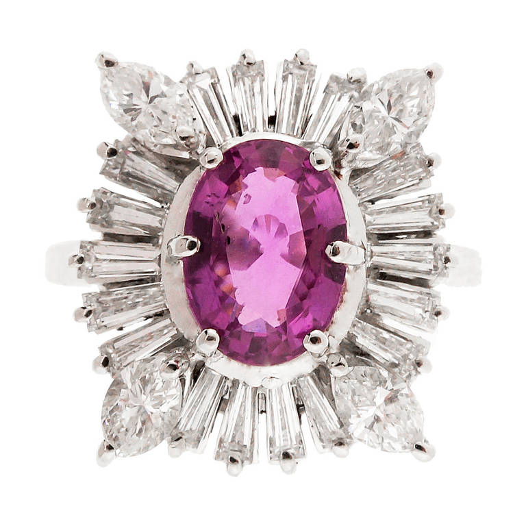 Pink Sapphire Marquise Diamond Baguette Gold Ring For Sale
