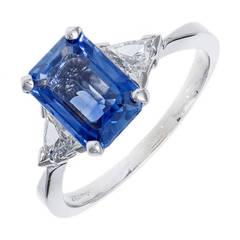 Emerald Cut Sapphire Diamond Gold Engagement Ring