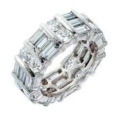 Kwiat Round and Baguette Diamond Platinum Wedding Band