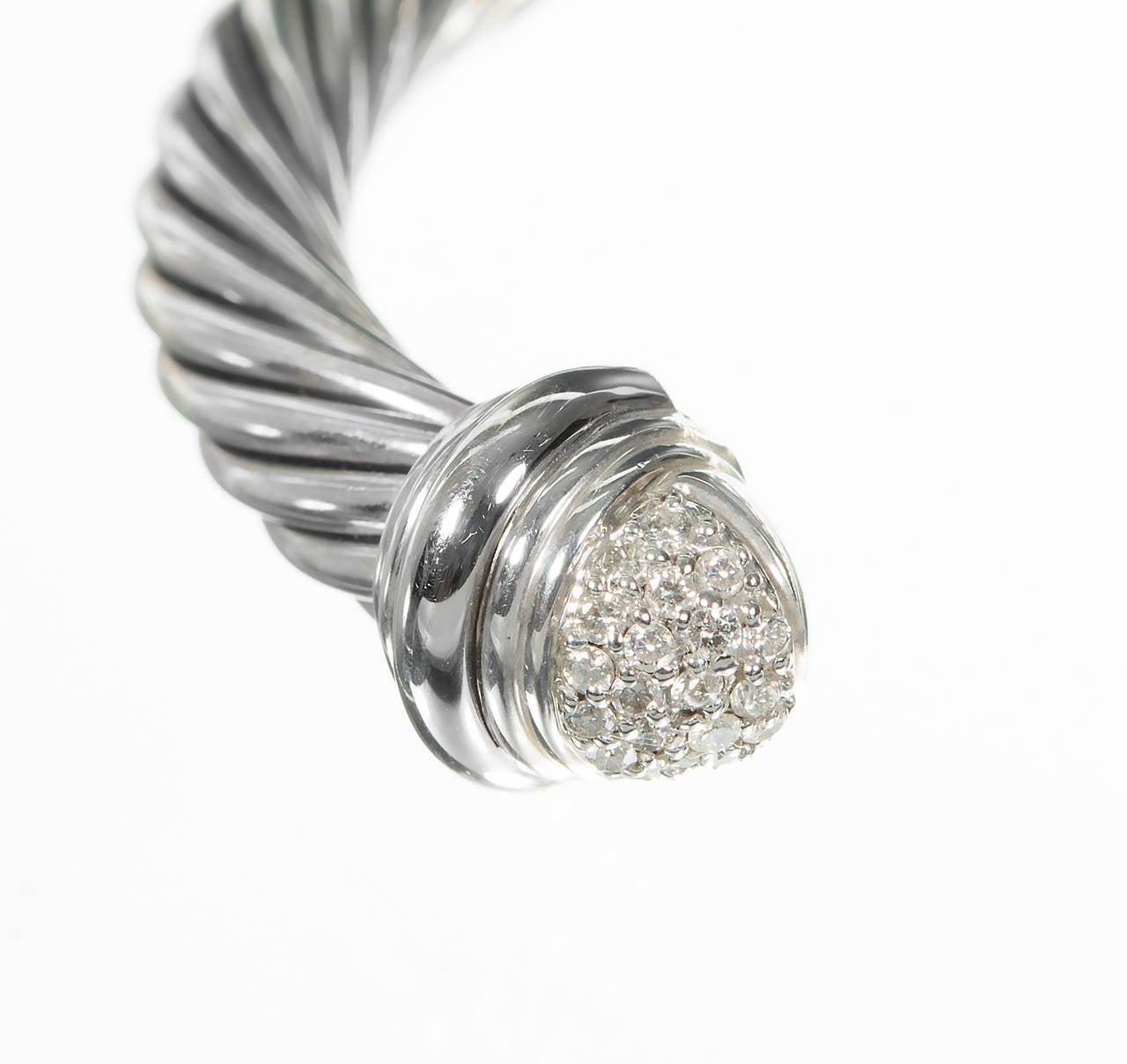 David Yurman .55 Carat Diamond Silver Gold Bangle Bracelet In Good Condition For Sale In Stamford, CT