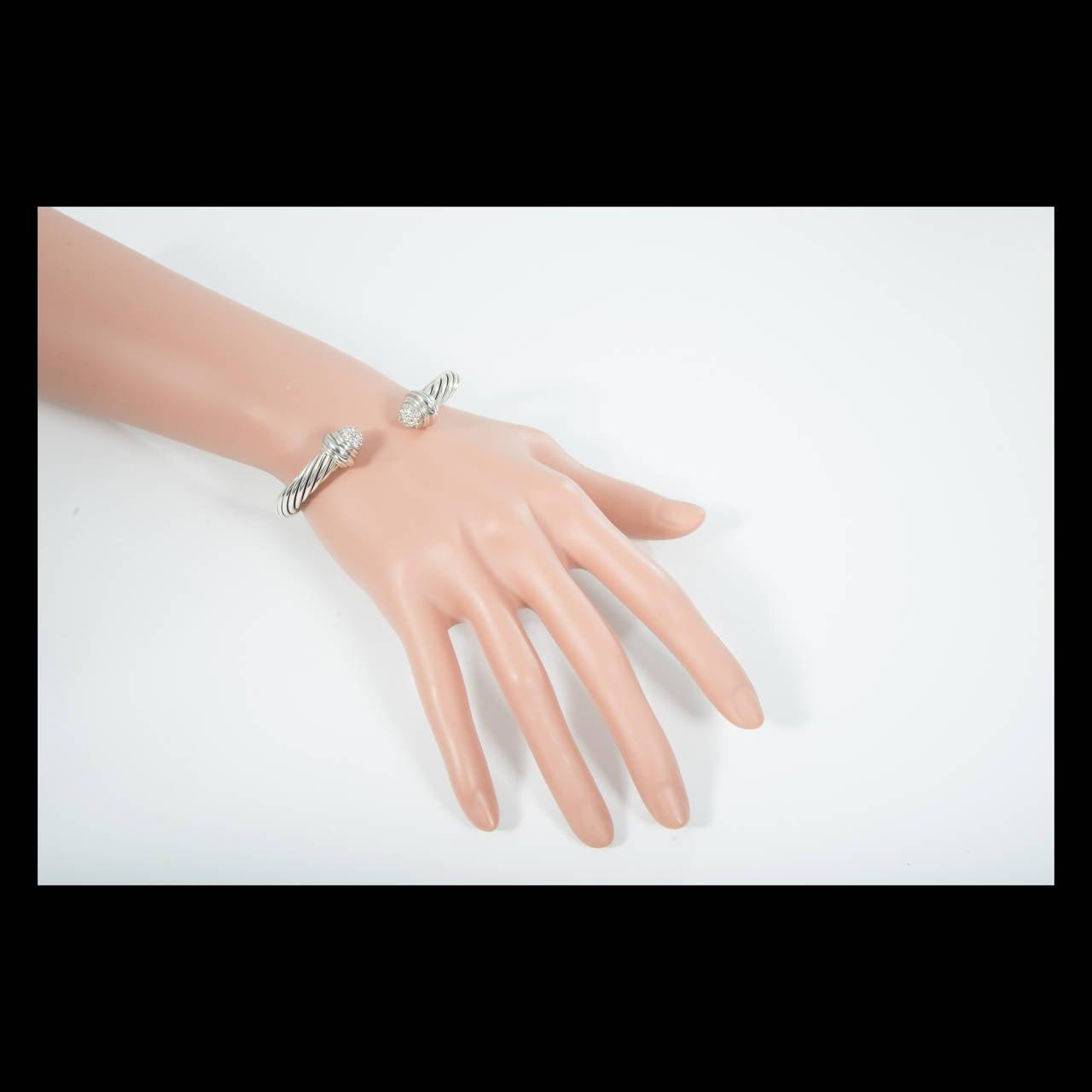 Women's David Yurman .55 Carat Diamond Silver Gold Bangle Bracelet For Sale