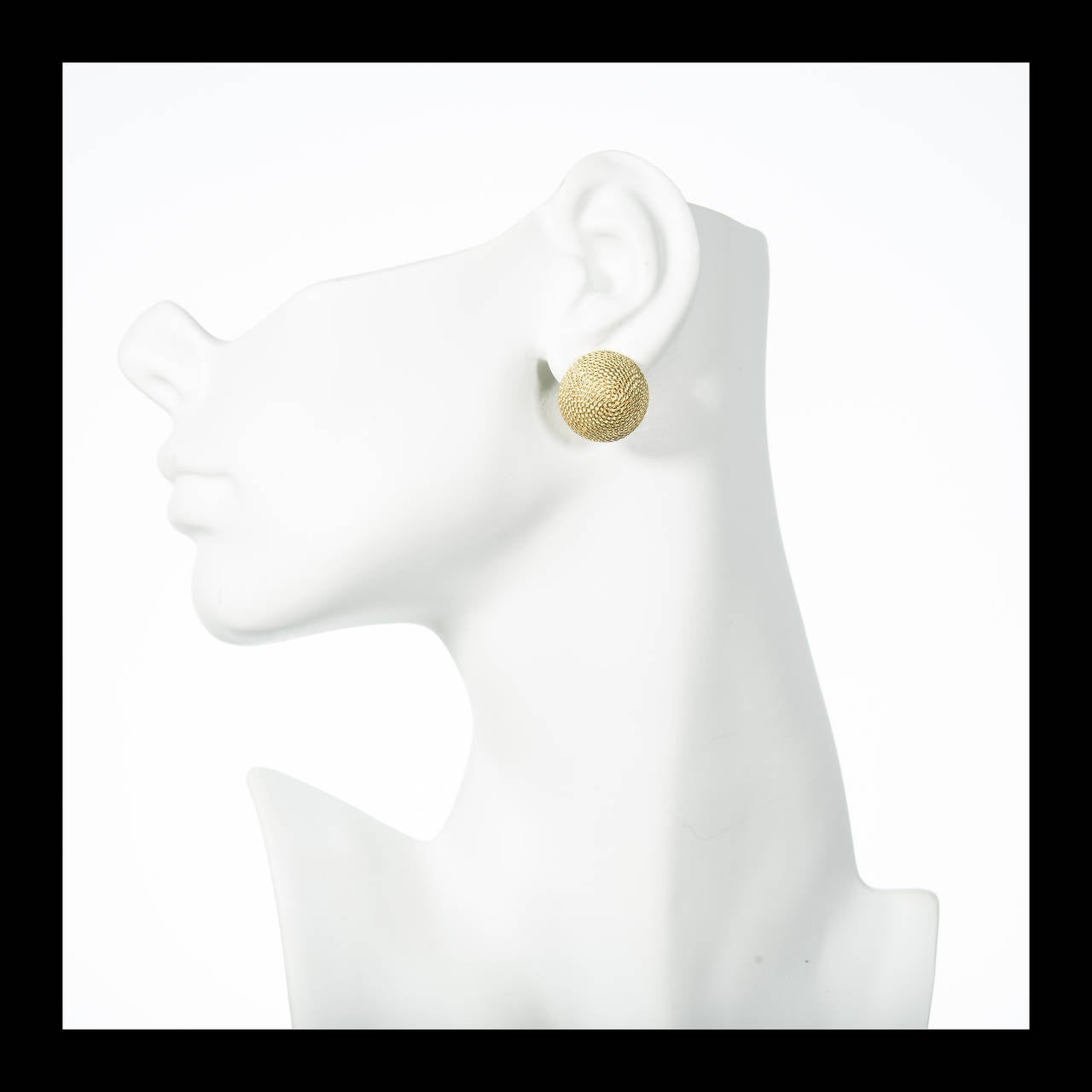 Women's Textured Gold Domed Button Style Earrings For Sale