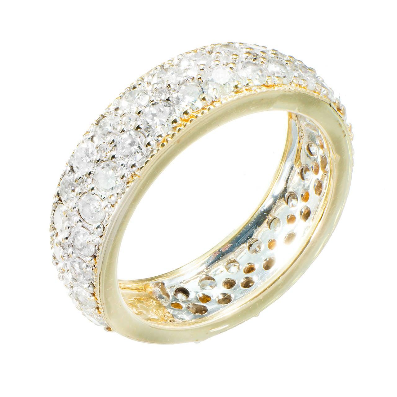 Three Row Diamond Gold Band Ring
