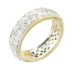 Three Row Diamond Gold Band Ring