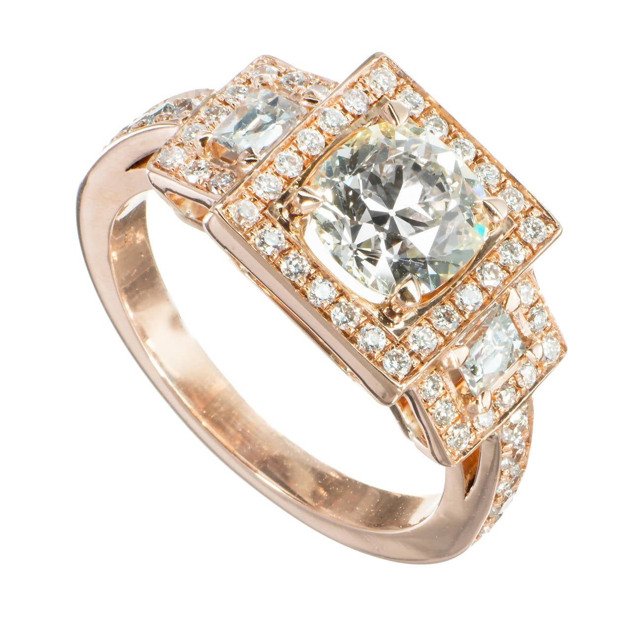 Peter Suchy 1.26 Carat Diamond Rose Gold Triple Halo Engagement Ring 1
