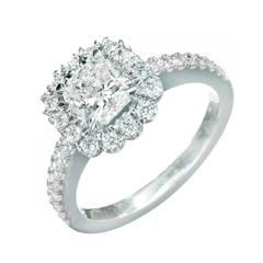 Peter Suchy Square Cushion-Cut Diamond Platinum Halo Ring