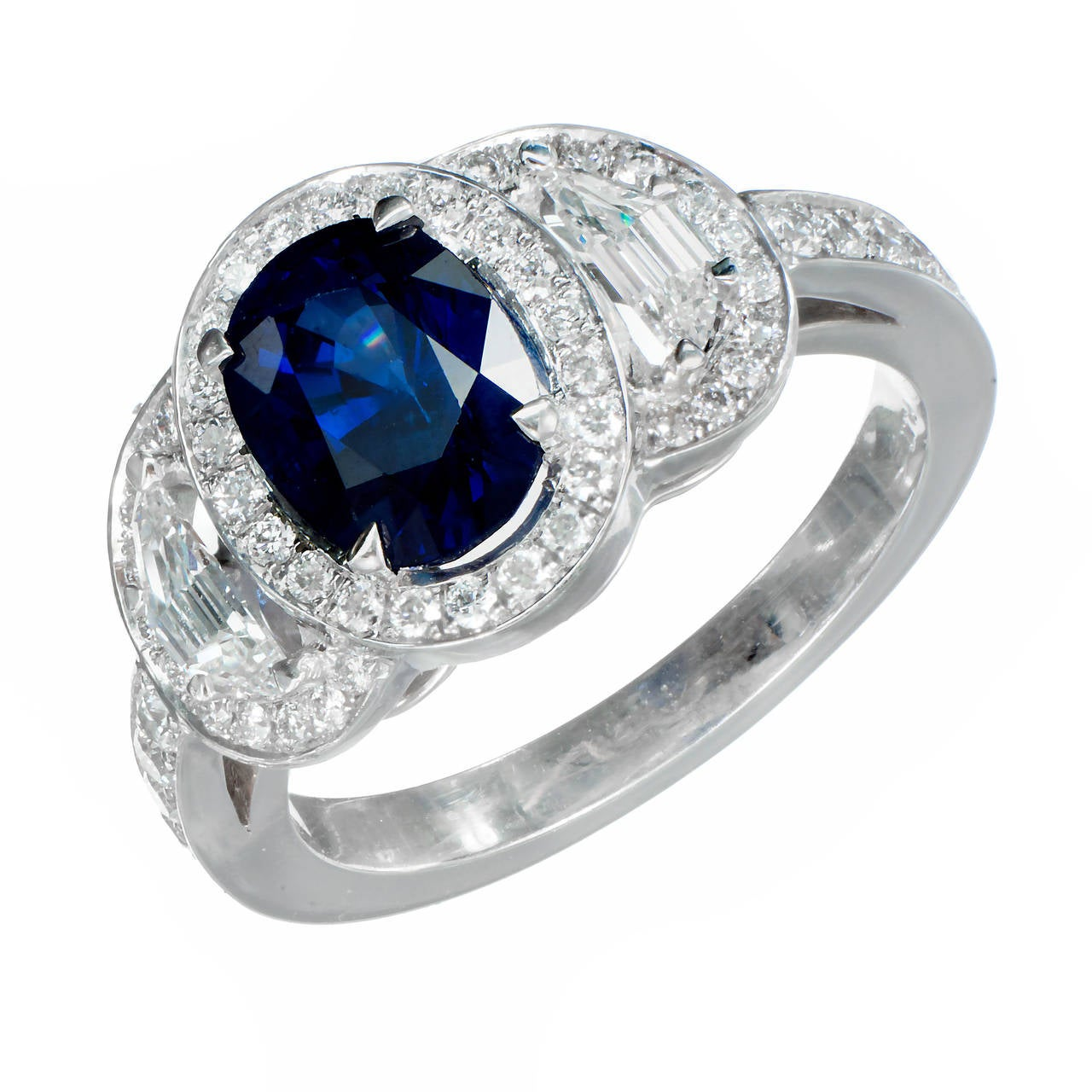 Peter Suchy 1.89 Carat Sapphire Diamond Halo Platinum Engagement Ring