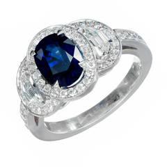 Peter Suchy 1.89 Carat Sapphire Diamond Halo Platinum Engagement Ring