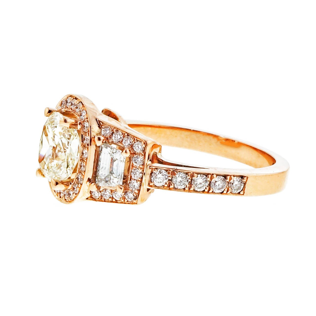 Peter Suchy Diamond Gold Triple Halo Trapezoid Engagement Ring 4