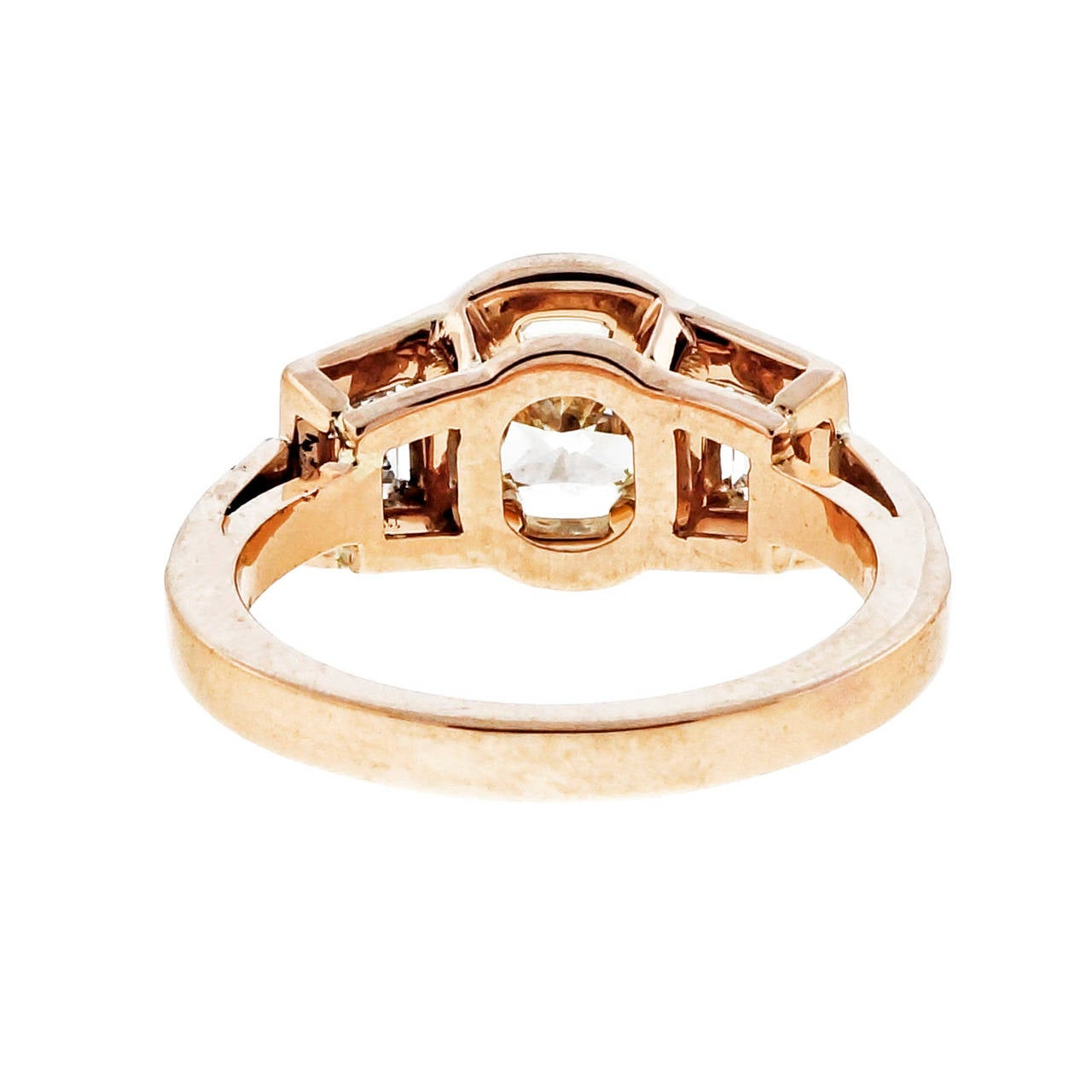 Peter Suchy Diamond Gold Triple Halo Trapezoid Engagement Ring 5