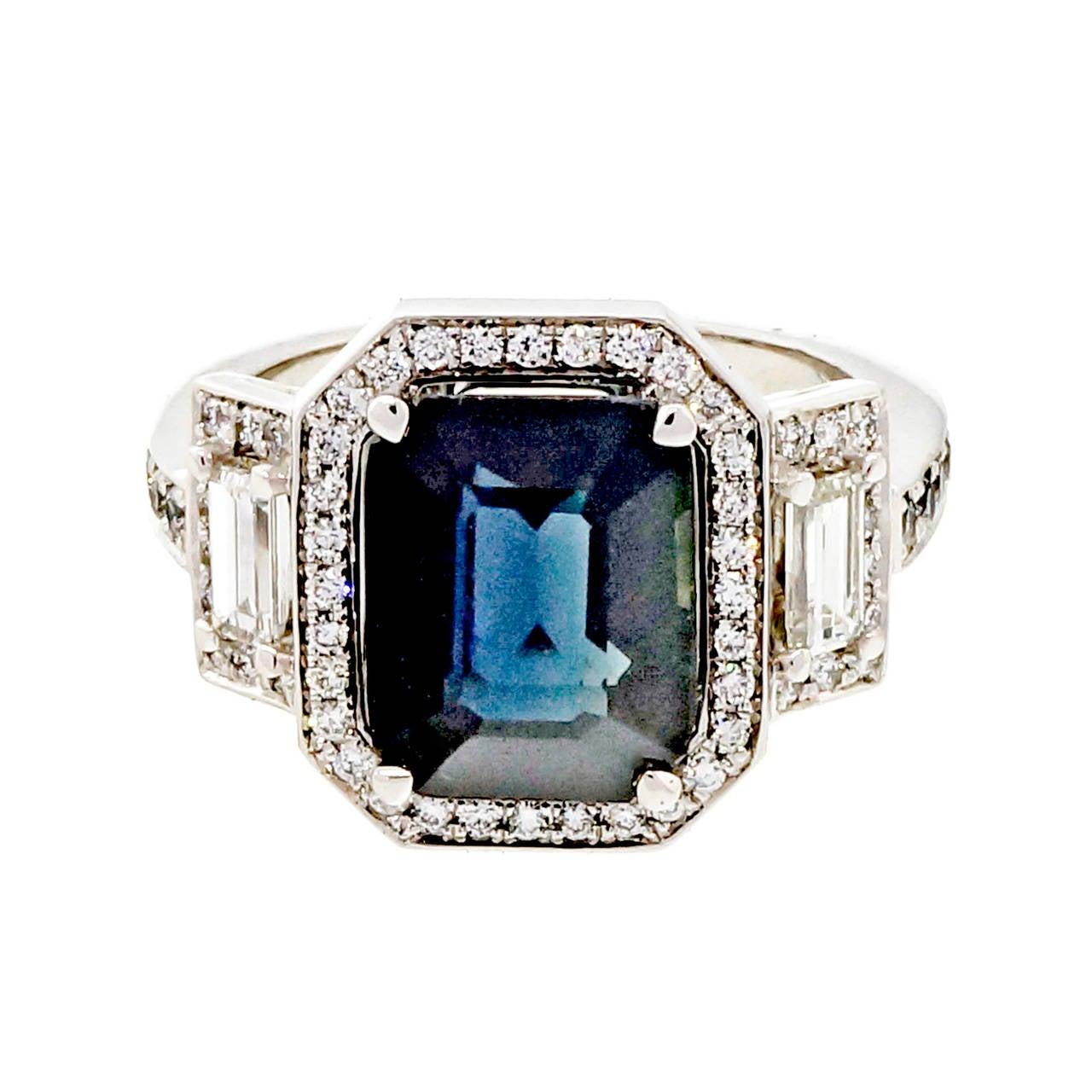 Peter Suchy 4.12 Carat Sapphire Diamond Platinum Triple Halo Engagement Ring 5