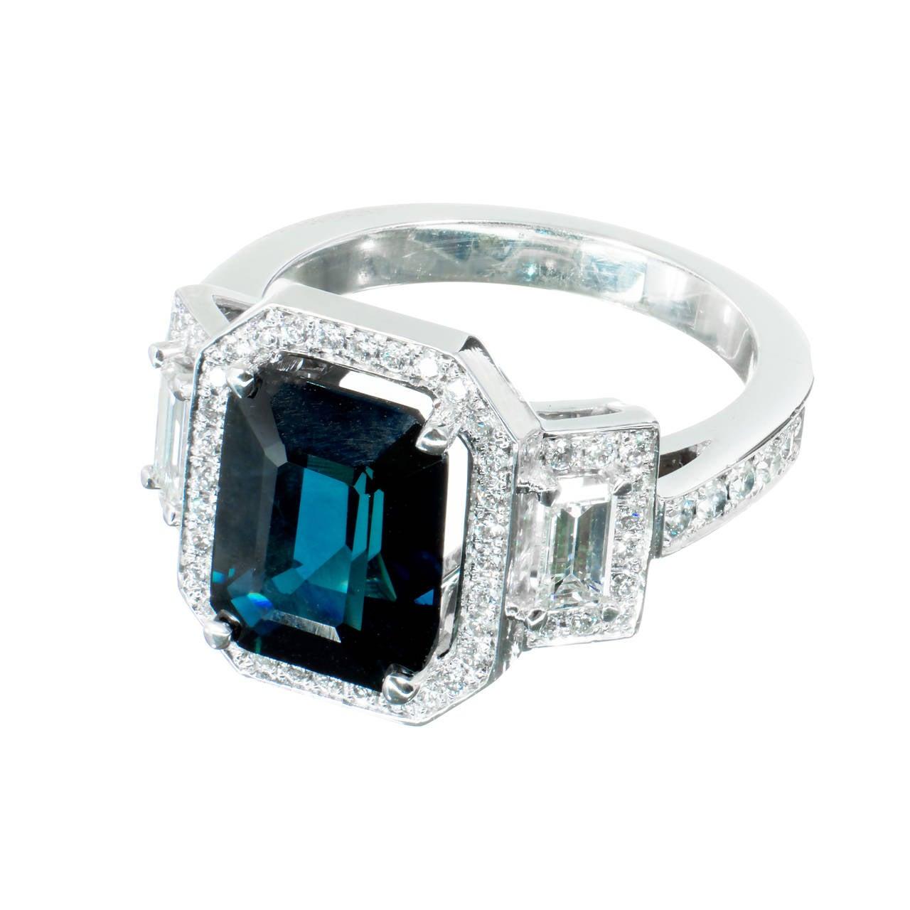 Peter Suchy 4.12 Carat Sapphire Diamond Platinum Triple Halo Engagement Ring 2
