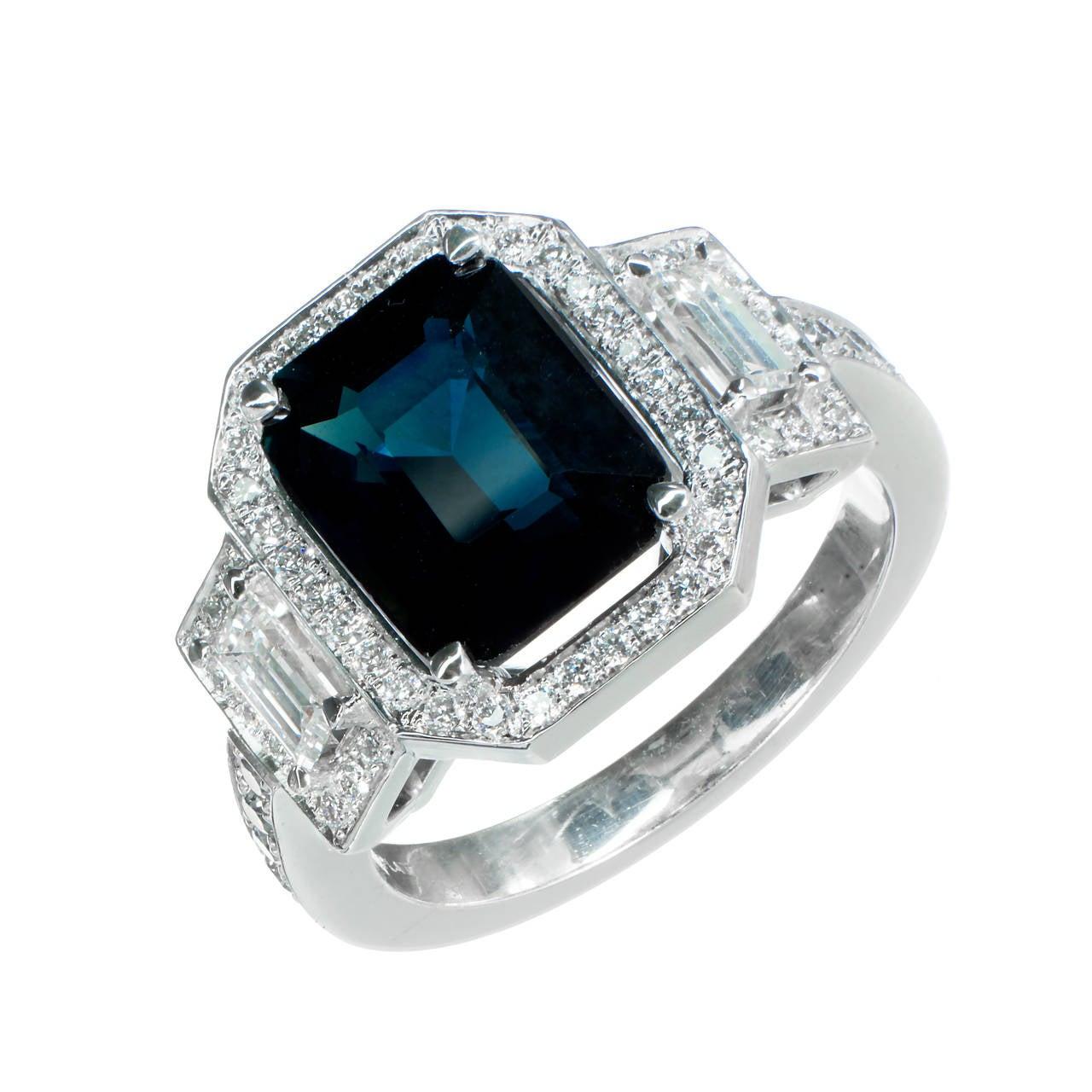 Peter Suchy 4.12 Carat Sapphire Diamond Platinum Triple Halo Engagement Ring 1