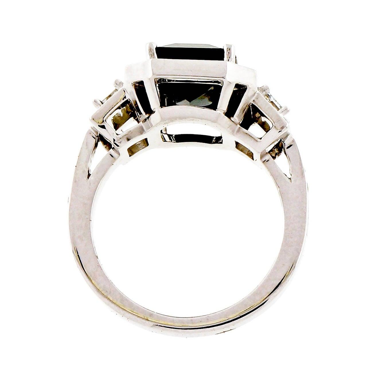 Peter Suchy 4.12 Carat Sapphire Diamond Platinum Triple Halo Engagement Ring 3