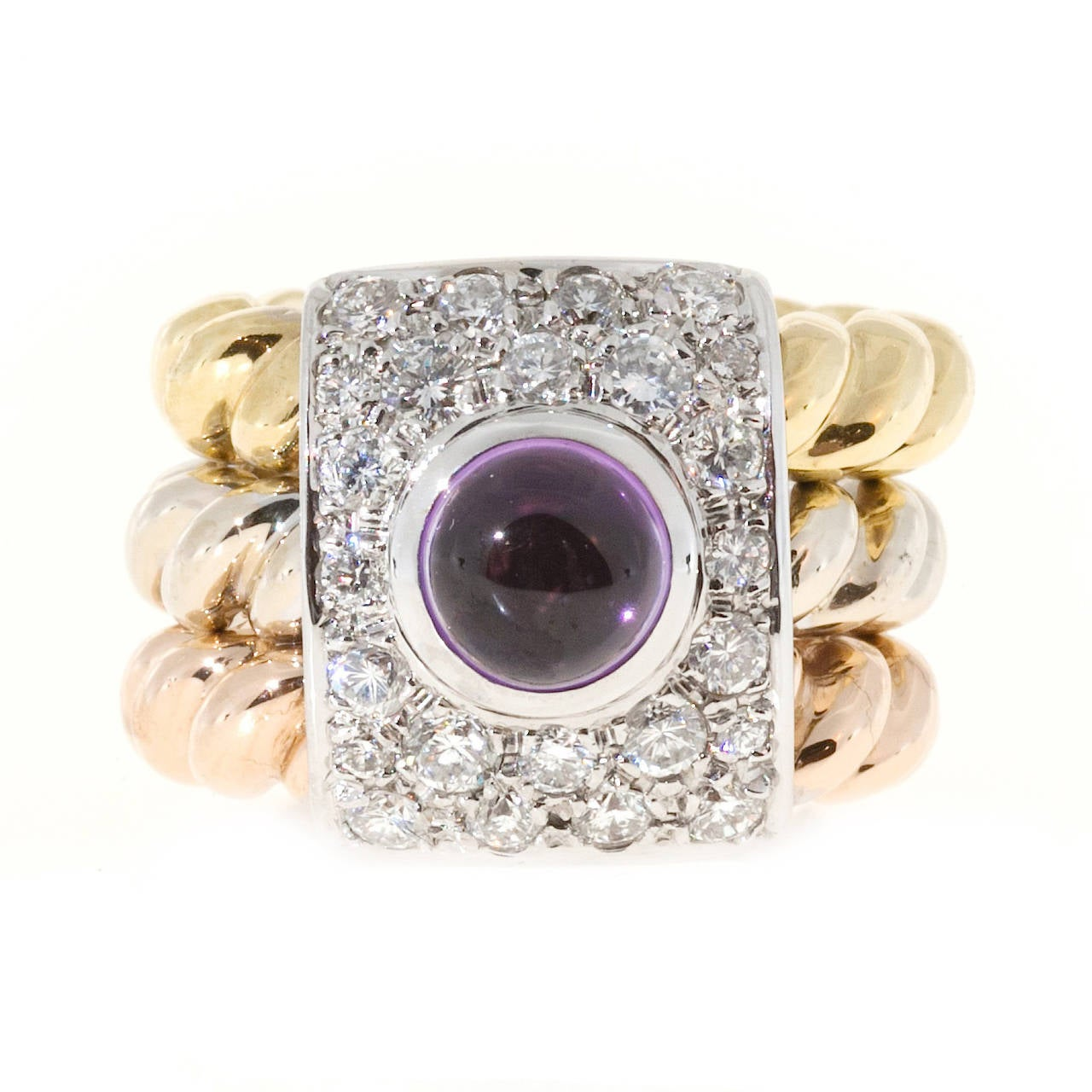 Women's Amethyst Cabochon Diamond Three Color Gold Cocktail Ring For Sale
